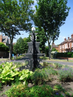 Our wooden fountain on the roundabout for Open Gardens 16th July 2013